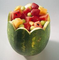 Watermelon Basket.  We have some ideas to help you use the entire watermelon or pineapple. Fruit basket garnishes not only look great and add to the atmosphere, but they also can hold a lot of fruit or salad, as well.
