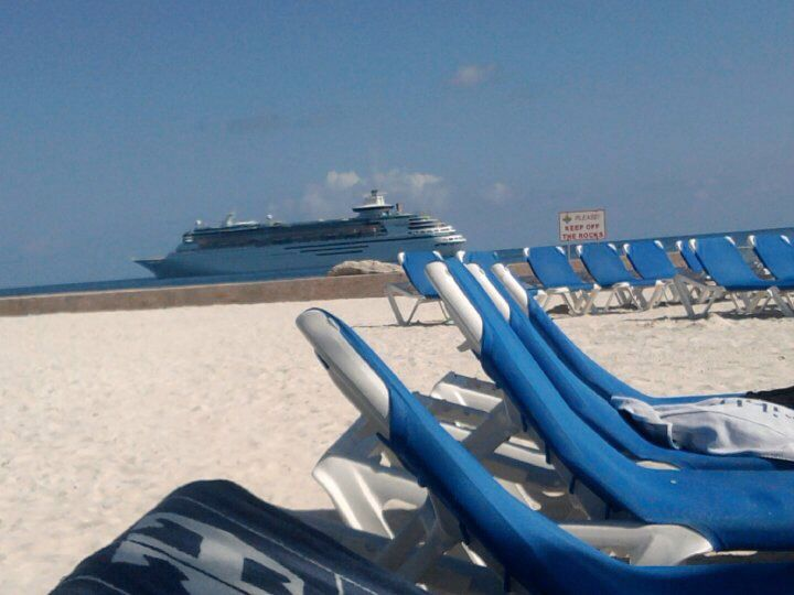 Royal Carribean Bahamas Cruise, sun beds with the cruise ship in the background