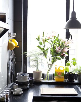 Brighten up an industrial kitchen with a few bright and beamy items | #IKEAIDEAS from Justin's kitchen
