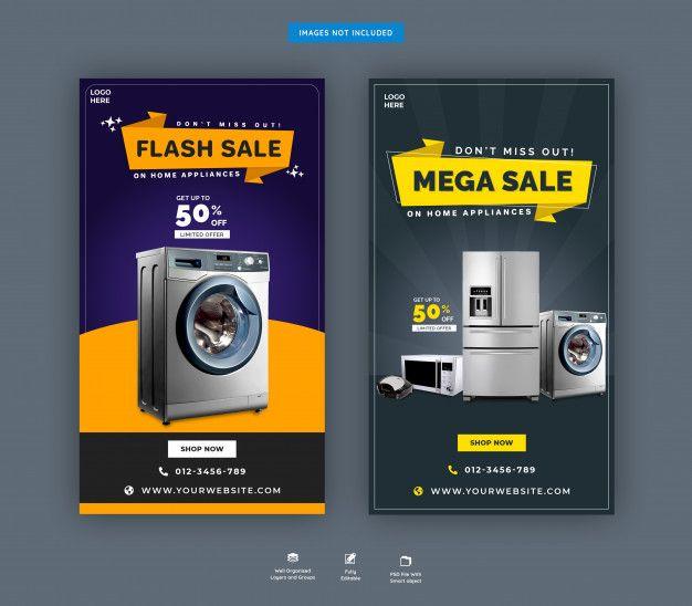 Home Appliance Instagram Stories Template Social Media Design Inspiration Social Media Campaign Design Social Media Design