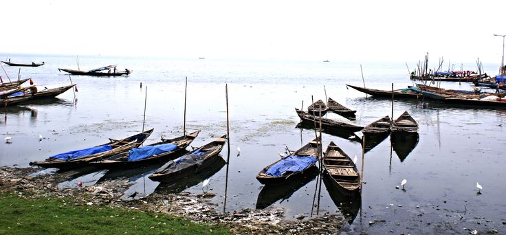 The fishing boats anchored at Chilika Lake, Odisha​.