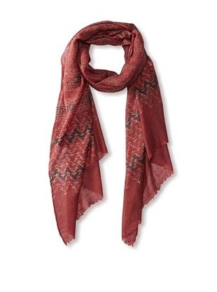 71% OFF MILA Trends Women's Hand Block Print Wool Scarf, Red Multi