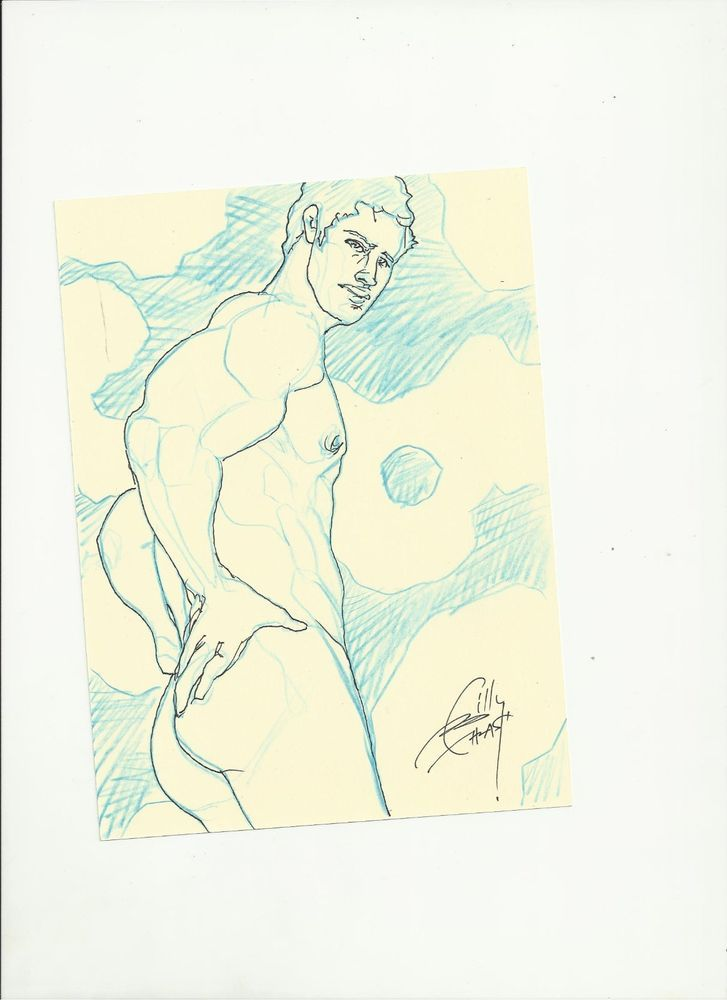 MUSCLE HUNK NUDE PHYSIQUE POSE STUDY eli14 orig gay art BTHRASH