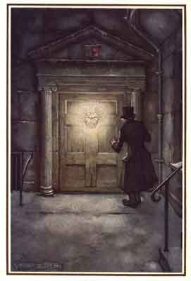 The facial image of Scrooge's late partner Marley becomes his door knocker - A Christmas Carol by Charles Dickens, 1953/1954
