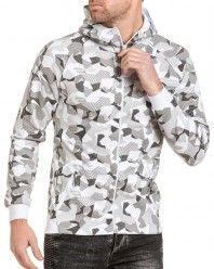 Sweat zippé blanc imprimé graphique a capuche homme