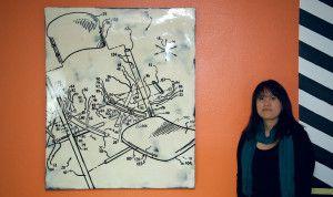 Heidi Brandow and her artwork at Nativo Lodge, Albuquerque