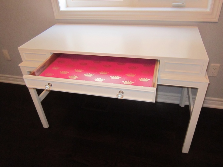 Desk 2 of 2 completed on spec for my clients' little girls. Pretty pink paper with gold crowns adorn the inside of the drawer. $210
