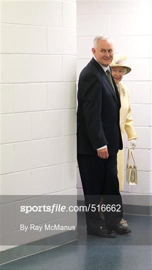 18 May 2011; Uachtarán CLG Criost—ir î Cuana and HM Queen Elizabeth II during their tour of Croke Park. State Visit to Ireland by HM Queen Elizabeth II and HRH the Duke of Edinburgh, Croke Park, Dublin. Picture credit: Ray McManus / SPORTSFILE