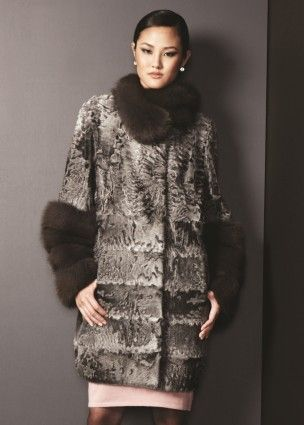 Broadtail lamb coat with sable trim