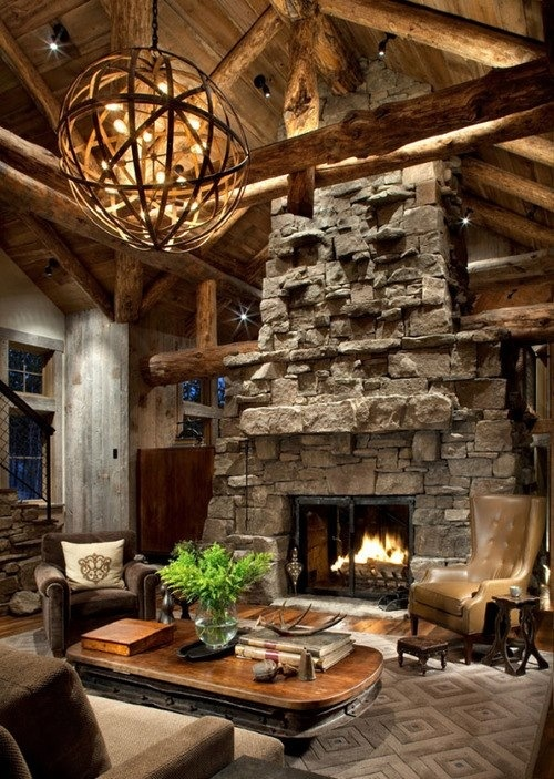 Big Stone Fireplace Stone Fireplace Pinterest