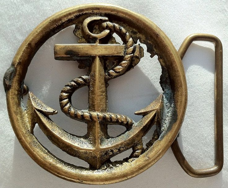 Vintage Belt Buckles | Vintage Brass Anchor Belt Buckle by VintageWolfAntiques on Etsy