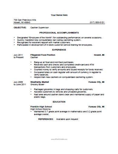 free printable cashier resume template