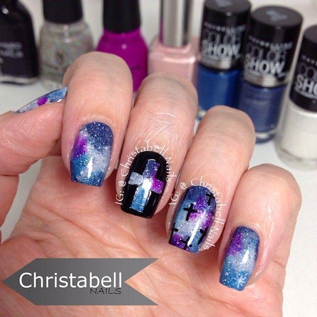 Galaxy nails. Nail art. Nail design. Polish. China glaze. Maybeline. Instagram photo by christabellnails