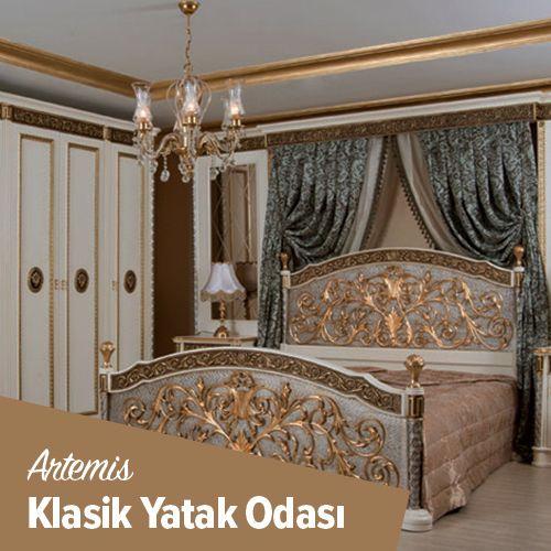 İhtişamlı tasarımı ve gözalıcı zerafeti ile yaşam mekanlarına saray havası kazandıran Artemis klasik yatak odası takımı tamamen doğal ahşaptan el işçiliği ile üretildi. Yeni sezon klasik yatak odası koleksiyonu için tasarlanan Artemis modeli, karyola, kıyafet dolabı, iki adet komodin, tuvalet masası ve aynadan oluşuyor. Yaşam alanına göre istenilen renk ve ölçüde üretilebilen Artemis yatak odası modelinde geniş mekanlar için ayrıca çekmeceli çamaşır dolabı da ilave edilebiliyor.