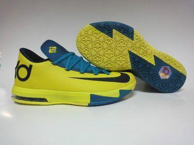 Real Nike KD VI 6 Cheap sale Yellow Teal Navy 599424-700