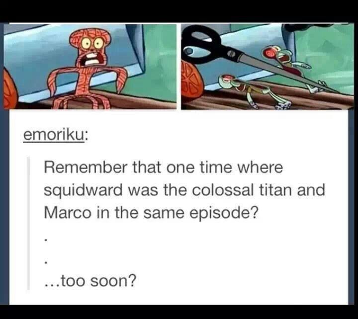 Funniest Meme Pages : Attack on titan and spongebob reference manga anime art