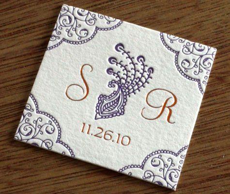 Sarah Indian Peacock Letterpress Wedding Invitation Design Favor Tag