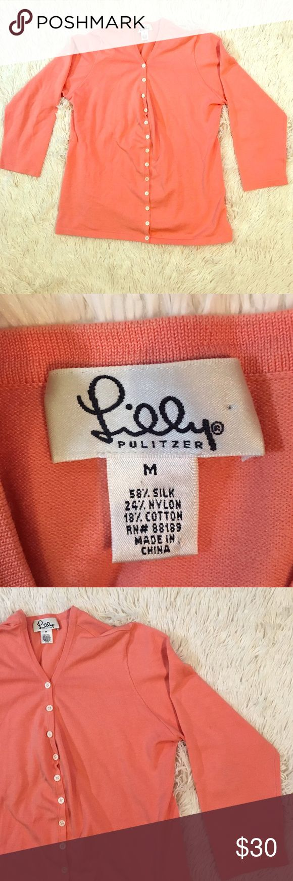 Lilly Pulitzer medium Coral Cardigan Lilly Pulitzer medium Coral Cardigan Lilly Pulitzer Sweaters Cardigans
