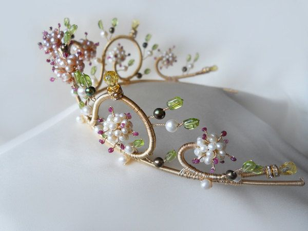 Ruby and pearl multi-gemstone floral motif gold tiara. $600.00, via Etsy. so cute but so damn expensive.