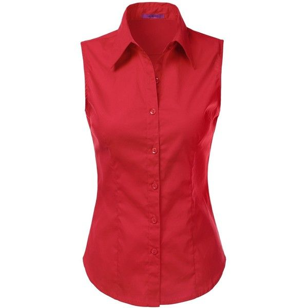 Amazon.com: LA BASIC Womens Sleeveless Button Down Shirts (S-3XL):... ($13) ❤ liked on Polyvore featuring tops, red button down shirt, red button up shirt, button up tops, no sleeve shirt and red top