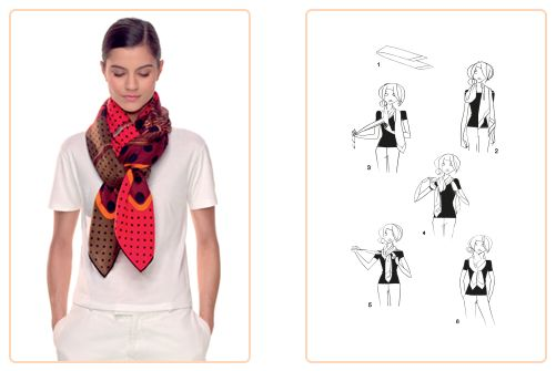 """This """"Criss-Cross"""" knot can be used for a  90x90 cm • 140x140 cm scarf or a Maxi-Twilly. Play with your Hermès scarf with the Silk Knots app! #Hermes #Silk #SilkKnots"""