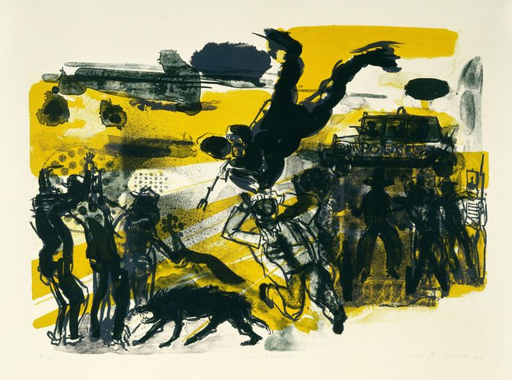 Warrington Colescott (American, b. 1921) The Execution, 1966 Color lithograph with spatter through industrial stencils image and sheet: 20 1/8 × 20 1/8 in. (51.12 × 51.12 cm) Milwaukee