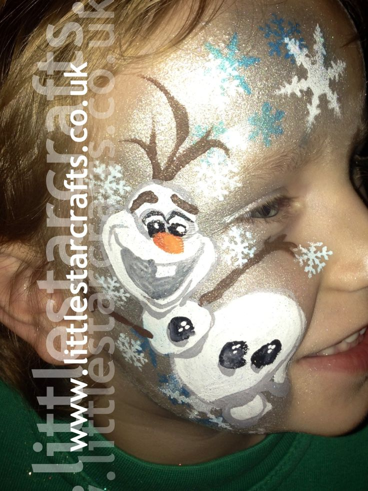 FROZEN OLAF FACE PAINT  - Little Star Faces - Professional Face Painting & Body Art  Face paint Design based on the ‪disney‬ movie ‪frozen character OLAF . Snowflakes, blue, white, sparkle, Frozen, Facepaint, disney.  http://www.littlestarcrafts.co.uk