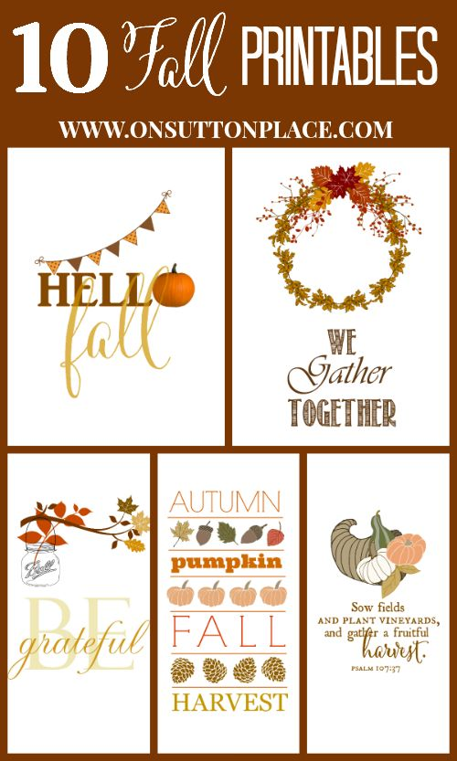 10 Fall Printables |  On Sutton Place