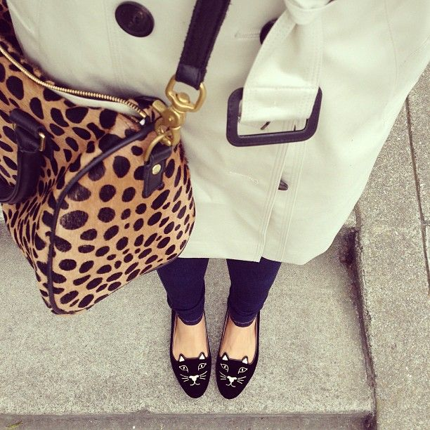 Tasche mit Leoparden-Print & Kitty Kat Flats