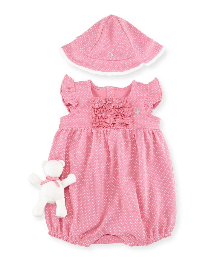 Pin Dot Bubble Playsuit, Bucket Hat & Teddy Bear, Garden Rose, Size 9-24 Months - Ralph Lauren Childrenswear