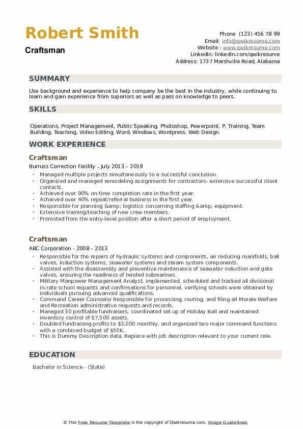 Craftsman Resume Samples Sample Resume Templates Resume Craftsman
