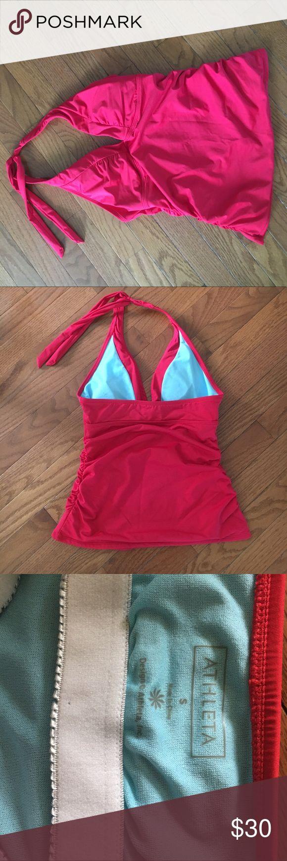 Athleta red tankini top Athleta Shirrendipity Halter Tankini, red with blue lining, side rouching, size Small Athleta Swim