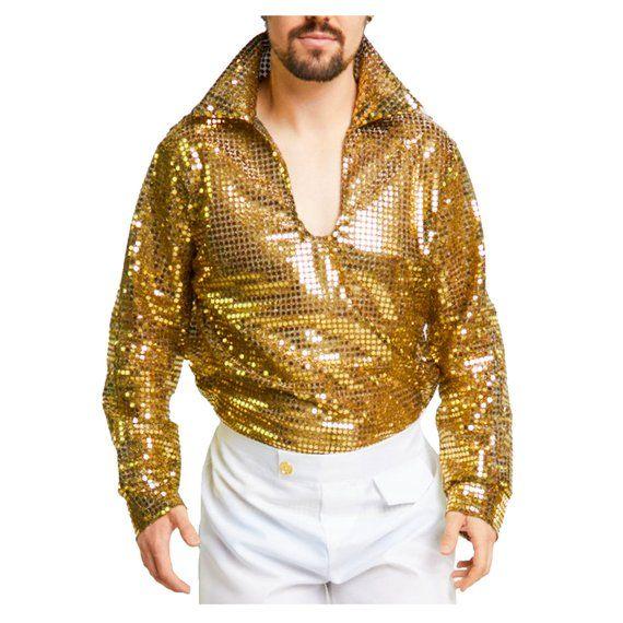 Disco Mens Adult Gold Shiny 70S Costume Accessory Shirt