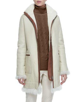 Jay+Shearling+Fur+Funnel-Collar+Coat+by+Loro+Piana+at+Bergdorf+Goodman.