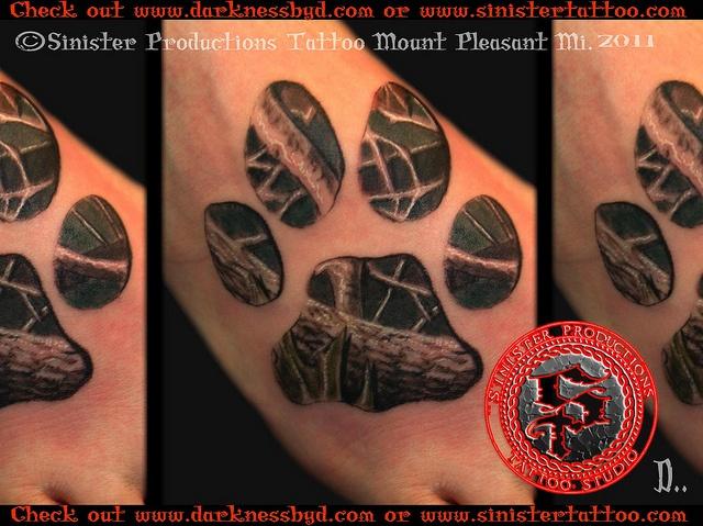 Real Tree Wolf Print Tattoo Done...
