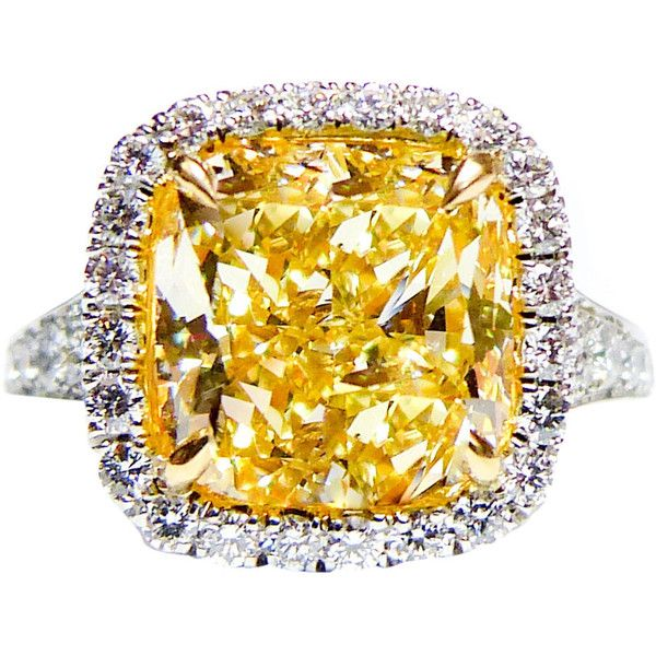 5.04 Carat Canary Yellow Diamond Platinum Ring ($65,000) ❤ liked on Polyvore featuring jewelry, rings, engagement ring, yellow, canary yellow diamond engagement rings, cushion cut engagement rings, fancy yellow diamond ring, yellow ring and canary diamond ring