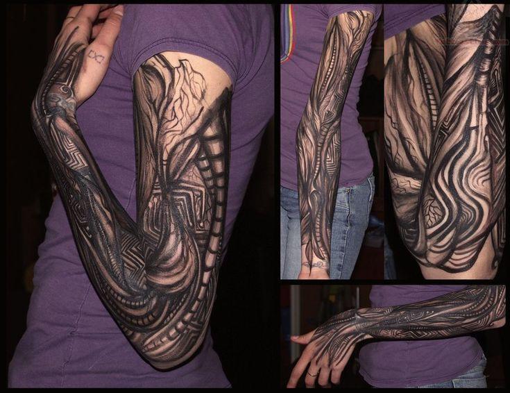 Amazing Black Ink Tattoo Design On Girl Sleeve
