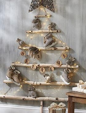 add a rustic touch to your christmas display with the hanging birch tree constructed of - Birch Christmas Decorations