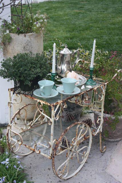 Garden Tea Cart #Home #French #Decor www.IrvineHomeBlog.com/HomeDecor/  ༺༺  ❤ ℭƘ ༻༻