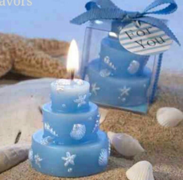 Blue candle Baptism/party favour