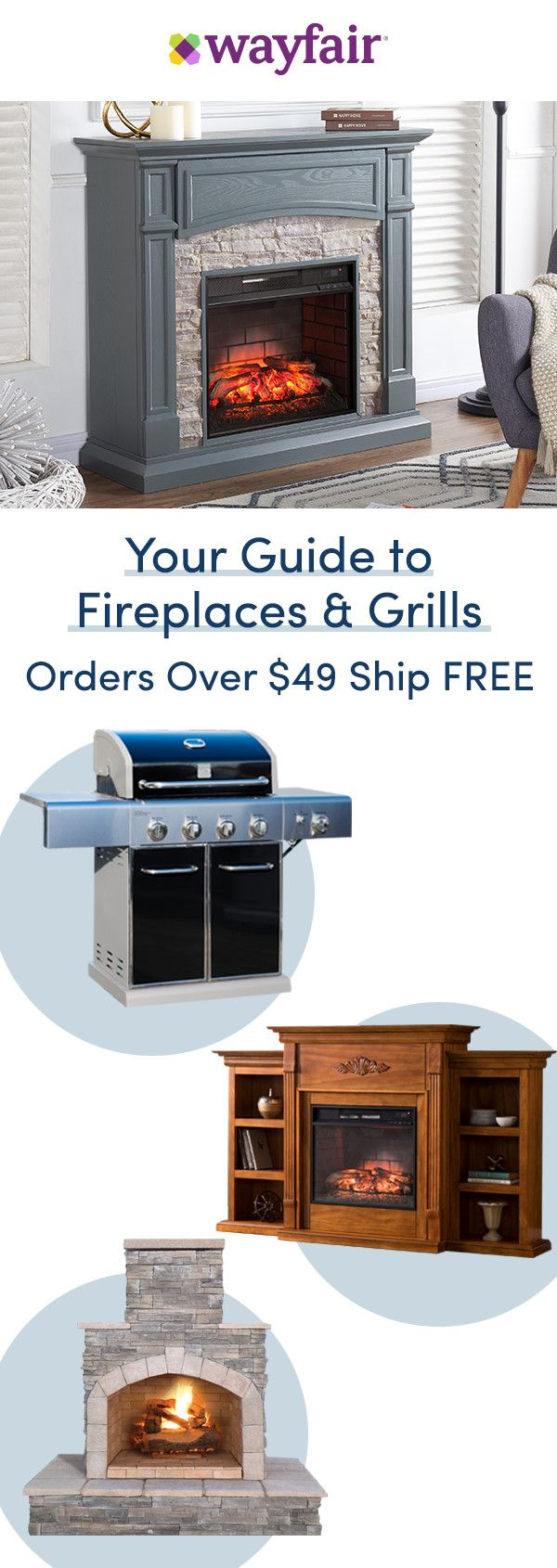 Sign up for access to exclusive sales, all at up to 70% OFF! Get ready to get cozy with fireplace TV stands and electric fireplaces in colorful and charming styles. From top-rated grills in bold colors, to smokers and beyond, you'll find everything you need to relax and entertain here. Enjoy FREE shipping on all orders over $49 at Wayfair!