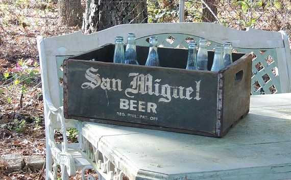 Vintage San Miguel Beer Wooden Crate 18 Compartments Rustic