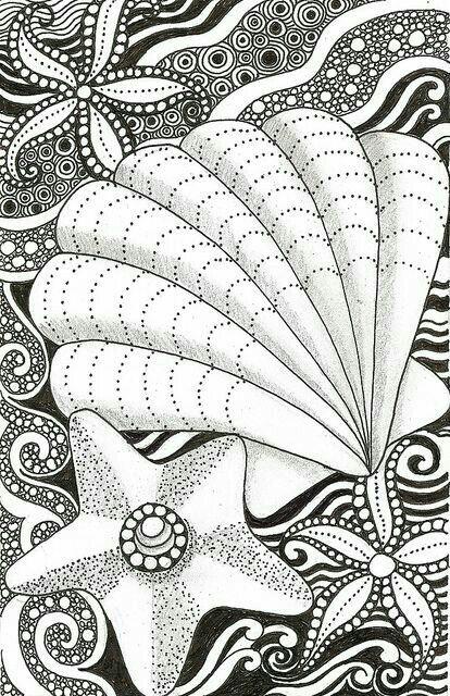 Seashells Zendoodle | Free Printable Coloring Page ...
