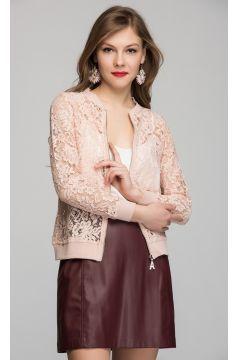 Womenice Kadın Pudra Dantelli Ceket