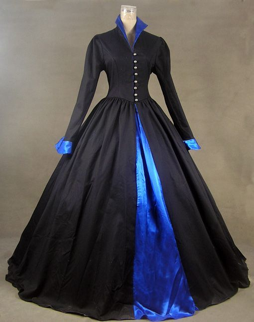 Renaissance Gothic Cotton and Satin Period Dress Ball Gown Theatre Reenactment Clothing
