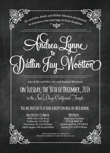 andrea dallin chalkboard wedding invitationsutah - Wedding Invitations Utah