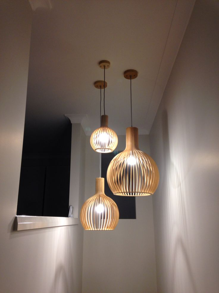 Pendant lights in stairwell