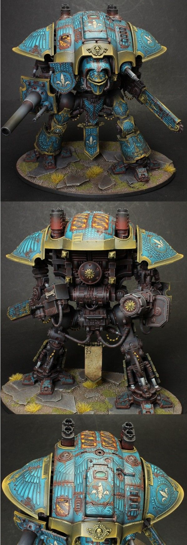 Warhammer 40k, Imperial Knight, with fantastic paint job and just dripping with freehand work!