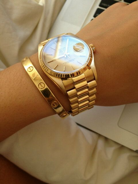 Gold Rolex & Gold Cartier Love Bangle (which I want so bad!! your significant other holds the key on a necklace to unlock the bangle) I wish my boyfriend had Pinterest.