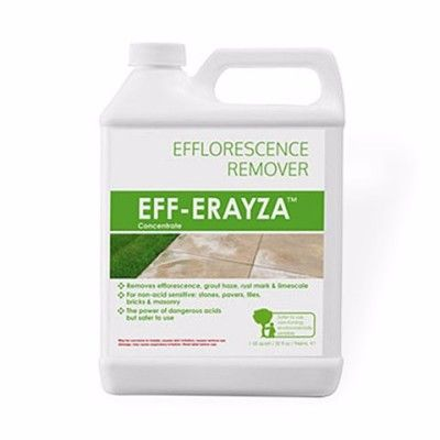 Hanafinn Eff-Erayza is a heavy duty cleaner for efflorescence and mineral residues. Eff-Erayza™ is a new technology safer acid cleaner for removing efflorescence, rust stains, limescale, grout haze, mortar mess and fireplace soot. Eff-Erayza™ is very powerful and generally more effective than traditional industrial acids but is non fuming, non-corrosive to metals (except for uncoated aluminium) and temporary contact does not burn skin.